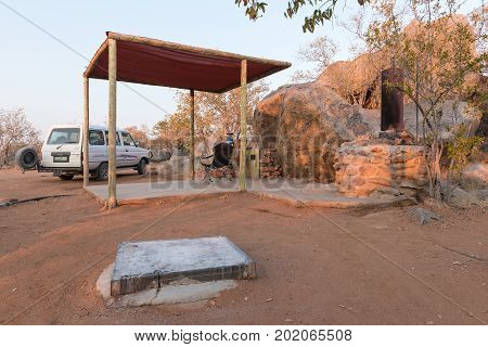 HOADA NAMIBIA - JUNE 28 2017: Sunrise at a campsite in the Hoada Rest Camp in the Kunene Region of Namibia