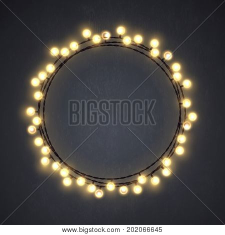 Warm colored vector light string Christmas wreath made of incandescent lamp.