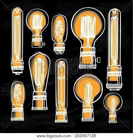 Poster with modern edison loft lamps, vintage, retro style light bulbs.  Hand drawn vector set of different geometric loft lamps