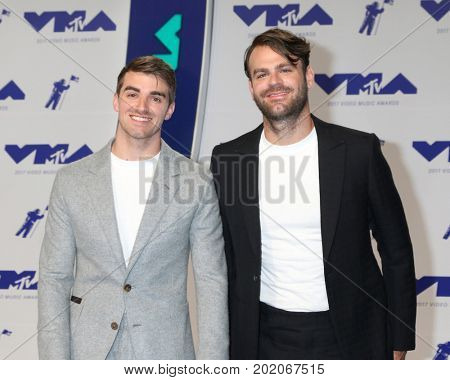 LOS ANGELES - AUG 27:  Alex Pall, Andrew Taggart, The Chainsmokers at the MTV Video Music Awards 2017 at The Forum on August 27, 2017 in Inglewood, CA