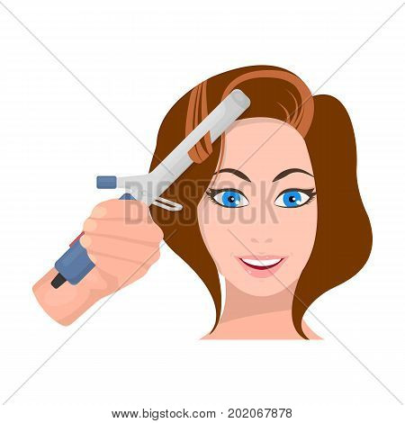 Hair curling in the hairdresser. Curling Hair single icon in cartoon style vector symbol stock illustration .