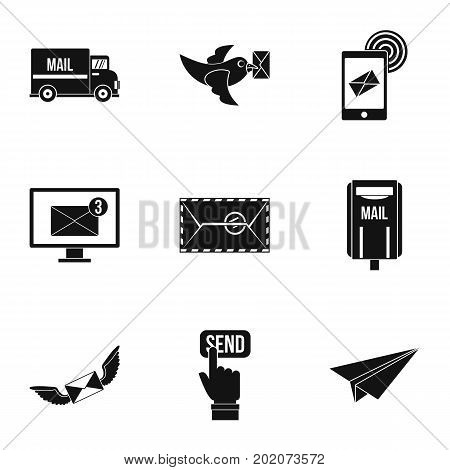 Postal icons set. Simple style set of 9 postal vector icons for web design