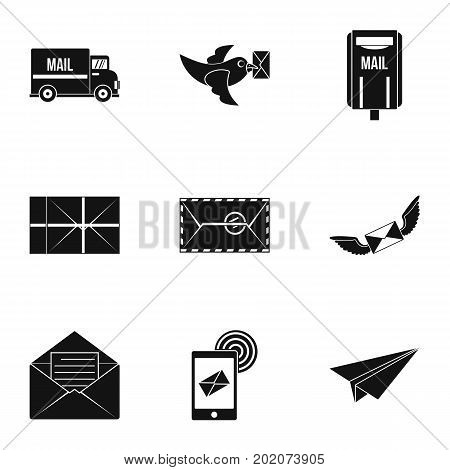 Mail icons set. Simple style set of 9 mail vector icons for web design