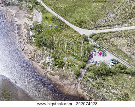 Aerial view of the wild camping area at Loch Etive, Scotland