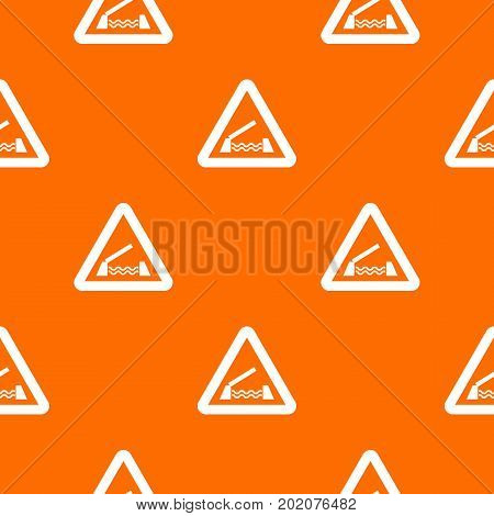 Lifting bridge warning sign pattern repeat seamless in orange color for any design. Vector geometric illustration