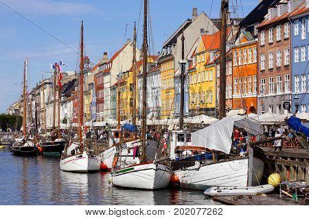 Copenhagen Denmark - August 24 2017: View of fishing boats in the Nyhavn districtg.