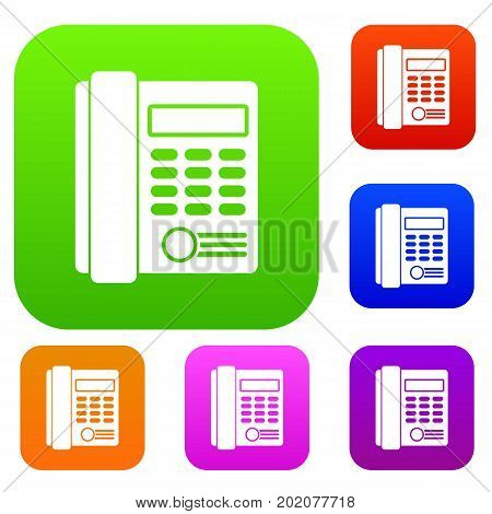 Office business keypad phone set icon in different colors isolated vector illustration. Premium collection