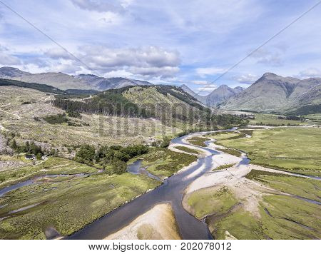 Amazing aerial view of the paradisal landscape of Glen Etive with the mouth of River Etive , Scotland