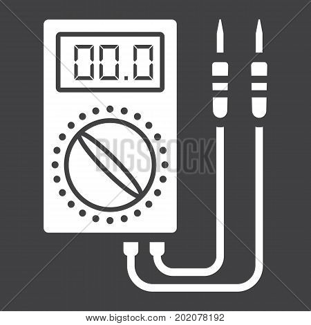 Digital multimeter glyph icon, build and repair, electric volmeter sign vector graphics, a solid pattern on a black background, eps 10.