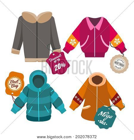 Winter sale coats and jackets with labels, vector illustration