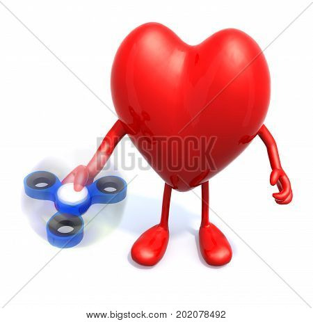 Heart With Arms And Legs That's Play With Fidget Spinner