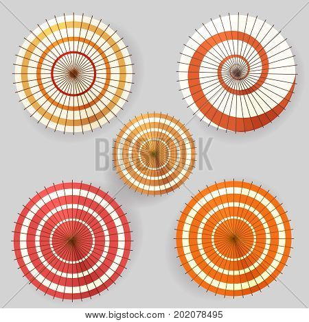 Asian paper umbrella top view collection, vector ilustration