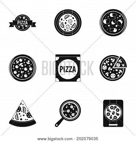 Mushroom pizza icons set. Simple style set of 9 mushroom pizza vector icons for web design