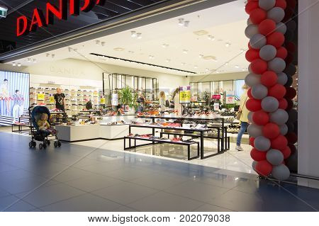 Vilnius Lithuania - June 12 2017: Akropolis shopping center is very popular with locals and tourists.