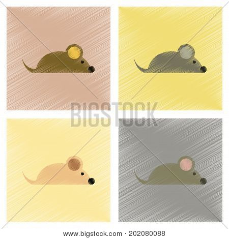 assembly flat shading style icons of pet mouse