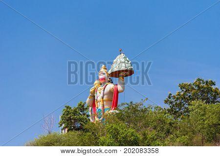 Hill View Stadium - Hanuman Statue Puttaparthi Andhra Pradesh India. Copy space for text