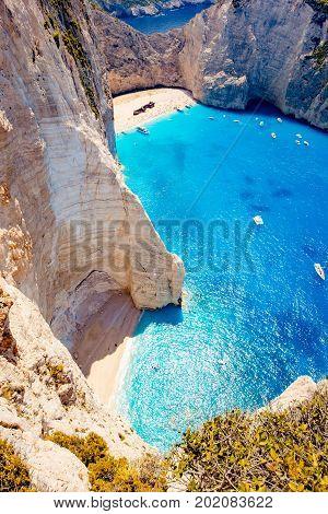 Navagio beach. Shipwreck bay, Zakynthos island, Greece. View from above.