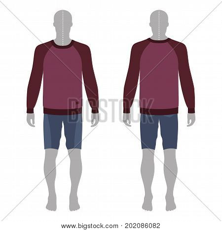Full length man's grey silhouette figure in a sweatshirt and skinny shorts template (front & back view) vector illustration isolated on white background