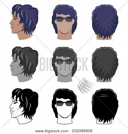 Closeup side front back portrait of a young curly man vector illustration isolated on white background