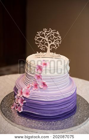 Beautiful wedding cake with wooden cake topper