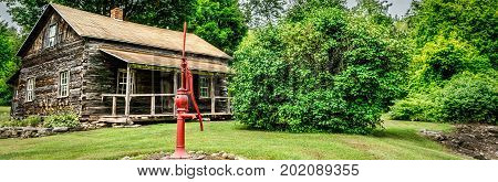 A water pump in front of a log cabin in the countryside of Wisconsin.
