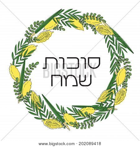 Sukkot Jewish Holiday greeting card. Frame with holiday symbols etrog, lulav hadas and arava. Vector illustration. Isolated on white background. Hebrew text Happy Sukkot