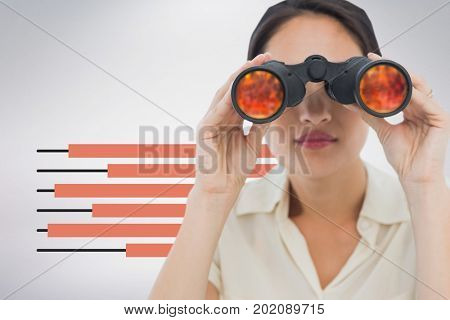 Digital composite of Woman looking through binoculars against white background with infographics