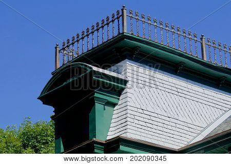 Nineteenth century house facade with widow's walk