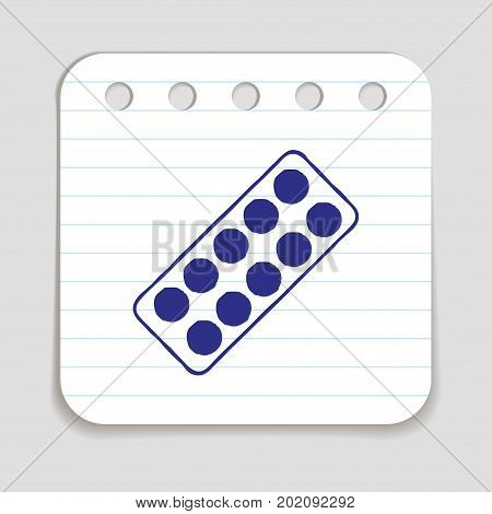 Pills blister doodle icon. Graphic design element for medication packaging, painkiller advertisement, pharmacy poster. Hand drawn infographic symbol on notepaper. Line art style. Vector illustration