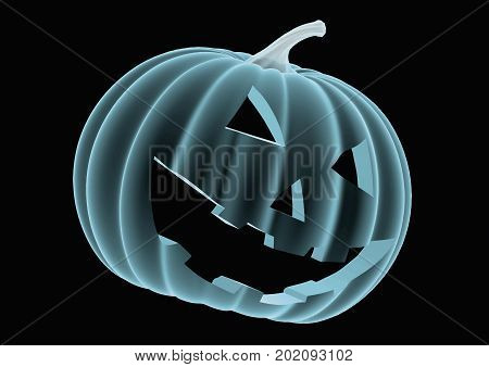 Halloween Pumpkin In Blue Over A Black Background 3
