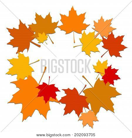 Autumn background with maple leaves. Backdrop with red orange brown and yellow foliage.Vector illustration