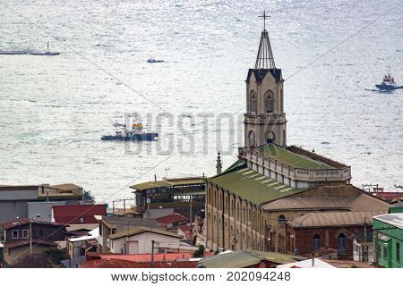 Old church in Valparaiso Chile with the Pacific Ocean in the background