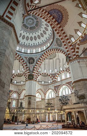 ISTANBUL, TURKEY - MAY 2, 2017: Interior of Sehzade Mosque Sehzade Mosque or Prince's Mosque or Sehzade Camii. It's an Ottoman imperial mosque located in the district of Fatih, was constructed by Sinan