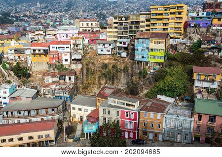 Cityscape of brightly colored buildings in Valparaiso Chile