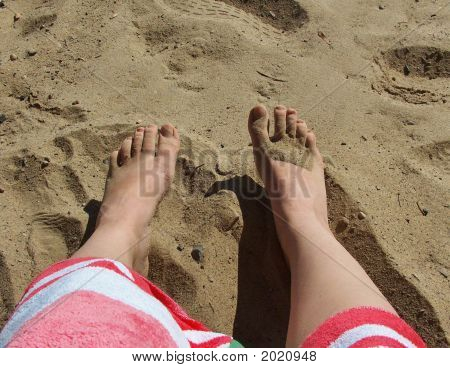 Beach Feet With Towel