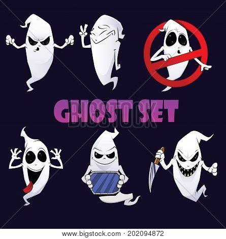 Vector ghost sticker set. Funny cartoon halloween cartoon. First part