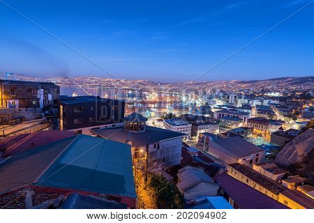 VALPARAISO CHILE - MAY 27: Nighttime view of Valparaiso Chile on May 27 2014