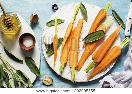 Young juicy carrots, sage, floral honey, garlic, salt ingredients for baking caramel spicy carrots. Top View