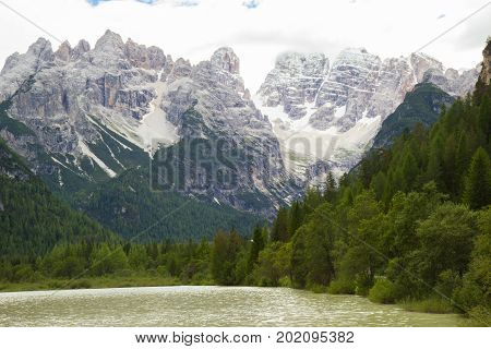 View Of Amazing Durrensee Lake In Italy