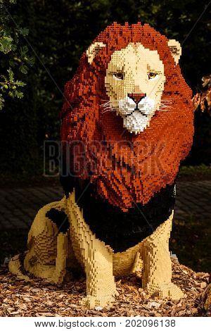 Planckendael zoo Mechelen Belgium - AUGUST 17 2017 : Lion built from bricks temporary exposition at Planckendael zoo.