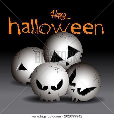Set Of Halloween Skulls