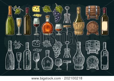 Set drinks made from grapes. Wine, brandy, champagne bottle, glass, barrel, cheese, barrel, bunch of grapes with berry and leaf. Vintage color engraving vector illustration isolated on dark background