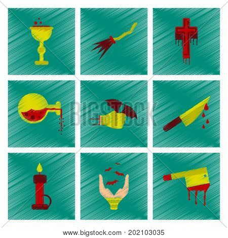 assembly flat shading style icon of knife blood wax candle hand bat