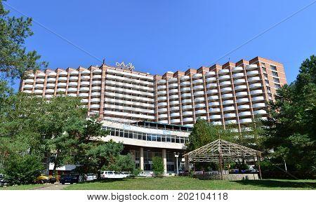 BAILE HERCULANE ROMANIA - 08.26.2017: Dacia hotel landmark architecture