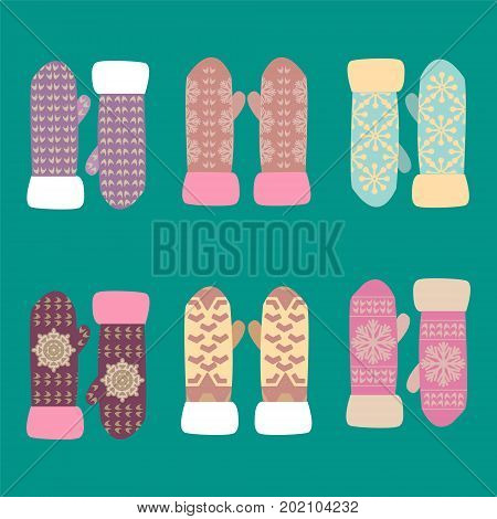 Cute set with mittens. Vector Colorful collection of different knitted winter mittens with snowflakes patterns