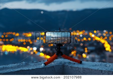 Smartphone On Tripod, Night Mobile Photography Of The City Of Gelendzhik