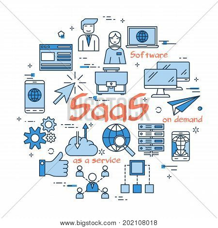 Vector red SaaS word with blue linear icons on white background. Round web banner. Concept of software as a service, product on demand, internet connection and computer using