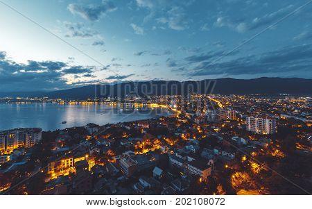 Panorama Of Night City Of Gelendzhik, June 2017