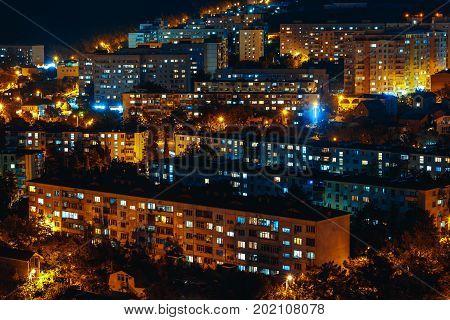 Panorama Of Night Buildings City Of Gelendzhik, Close-Up