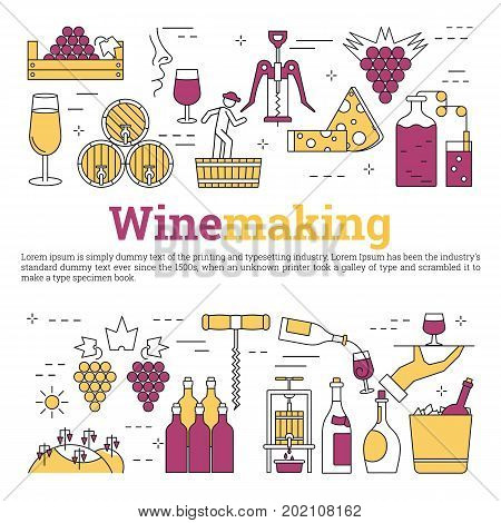 Vector linear square concept of viticulture and storage of products and caption WINEMAKING. Isolated illustration with outline icons in purple and yellow colors